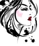 As mulheres bonitas, mulheres do logotipo enfrentam a composição no fundo branco, vetor Fotografia de Stock