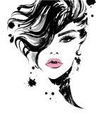 As mulheres bonitas, mulheres do logotipo enfrentam a composição no fundo branco, vetor ilustração royalty free
