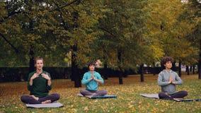 As mulheres bonitas estão relaxando o assento na posição dos lótus sobre esteiras da ioga no parque e no ar fresco de respiração  filme