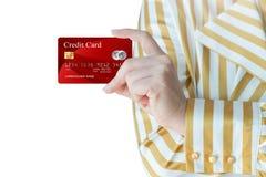 As mulheres colhem acima do cartão de crédito realístico Imagem de Stock Royalty Free