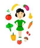 As mulheres comem o conceito saudável do alimento do vegetariano orgânico da natureza Ilustração lisa do ícone do personagem de b ilustração royalty free