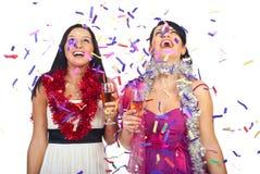 As mulheres comemoram o partido do ano novo Fotografia de Stock Royalty Free