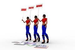 as mulheres 3d aprendem que a prática melhora o conceito Fotografia de Stock Royalty Free