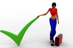 as mulheres 3d concordam a verificação Mark com a pasta Imagem de Stock Royalty Free