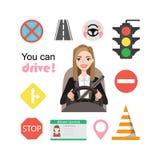 As mulheres de negócios conduzem um carro Grupo de símbolos da estrada e de caráter do motorista da mulher imagem de stock