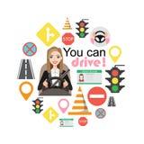 As mulheres de negócios conduzem um carro Grupo de símbolos da estrada e de caráter do motorista da mulher fotos de stock royalty free