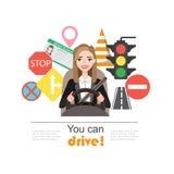 As mulheres de negócios conduzem um carro Grupo de símbolos da estrada e de caráter do motorista da mulher imagens de stock royalty free