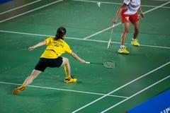 As mulheres do badminton escolhem a competição. Foto de Stock Royalty Free