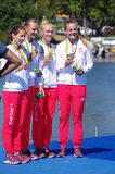 As mulheres do enfileiramento quadruplicam o medalheiro de bronze dos Sculls em Rio2016 Fotos de Stock