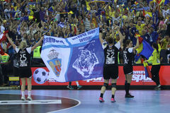 "AS MULHERES EHF do HANDBALL PATROCINAM o †FINAL ""GYORI AUDI ETO KC da LIGA contra CSM BUCURESTI Imagem de Stock Royalty Free"