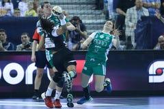 "AS MULHERES EHF do HANDBALL PATROCINAM o †FINAL ""GYORI AUDI ETO KC da LIGA contra CSM BUCURESTI Fotografia de Stock"