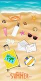 As mulheres encalham o objeto do curso em uma praia da areia do mar ilustração royalty free