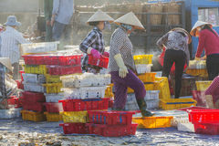 As mulheres estão trocando peixes no mercado de peixes longo de Hai Foto de Stock Royalty Free