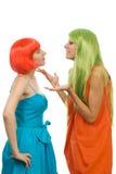 As mulheres explicam algo que gesticulating imagens de stock