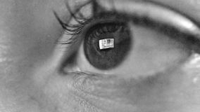 As mulheres eye com reflexão do Internet surfando na noite video estoque