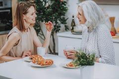As mulheres felizes estão comunicando-se no copo do chá em casa imagens de stock royalty free