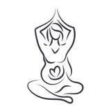 as mulheres na ioga levantam na linha estilo da arte Vetor ilustração royalty free