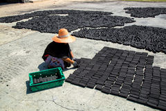 As mulheres puseram a barra do bloco do carvão vegetal feita do shell do coco sobre o assoalho Fotografia de Stock Royalty Free