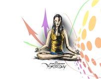 As mulheres que praticam a ioga levantam - 21 de junho o dia internacional da ioga ilustração do vetor
