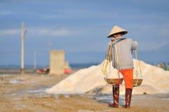 As mulheres vietnamianas estão carregando duramente para recolher o sal dos campos do extrato aos campos do armazenamento Fotos de Stock