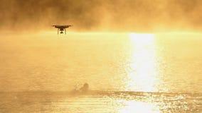 As nadadas do homem novo rastejam em um lago no por do sol no slo-mo O zangão acaba-se vídeos de arquivo