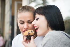 As namoradas comem o muffin de blueberry em Paris, france imagem de stock