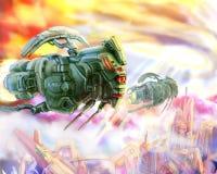 As naves espaciais dos estrangeiros gostam de uma ilustração da ficção científica dos locustídeo ilustração do vetor