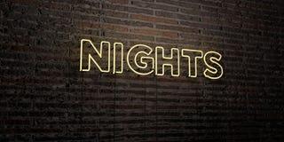 As NOITES - sinal de néon realístico no fundo da parede de tijolo - 3D rendeu a imagem conservada em estoque livre dos direitos ilustração royalty free
