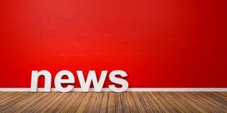 as notícias 3D brancas Text a forma no assoalho de madeira de Brown contra a parede vermelha com Copyspace - ilustração 3D Fotografia de Stock