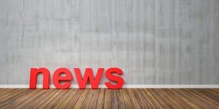 as notícias 3D vermelhas Text a forma no assoalho de madeira de Brown contra Grey Wall com Copyspace - ilustração 3D ilustração do vetor