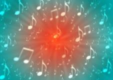 As notas abstratas da música sopram no fundo vermelho e azul obscuro ilustração do vetor