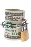 As notas da moeda do dólar são bloco fora com um fechamento Fotos de Stock Royalty Free