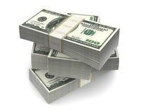 As notas de dólar embalam (com trajeto de grampeamento) Imagens de Stock