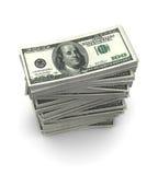 As notas de dólar embalam (com trajeto de grampeamento) Foto de Stock Royalty Free