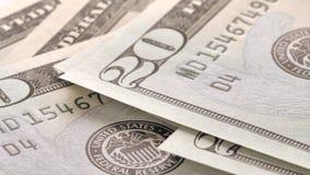 As notas de dólar fecham-se acima, fundo do dinheiro Retrato de Andrew Jackson video estoque