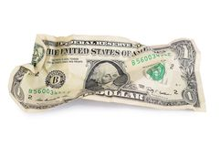 As notas de dólar amarrotadas isoladas Fotografia de Stock