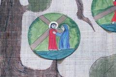 as 4ns estações da cruz, Jesus encontram sua mãe Fotos de Stock Royalty Free