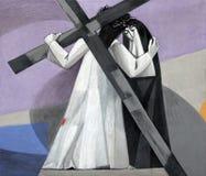 as 4ns estações da cruz, Jesus encontram sua mãe fotografia de stock royalty free