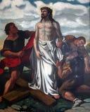 as 10ns estações da cruz, Jesus são descascadas de seus vestuários Imagens de Stock