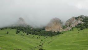 As nuvens de chuva cobrem lentamente as inclinações de montanha rochosos o verde da luxúria da inclinação local dos prados das mo video estoque