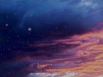 As nuvens de tempestade coloridas no por do sol e no céu noturno com a galáxia celestial de incandescência do fundo da ilustração ilustração do vetor