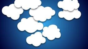 As nuvens do estilo dos desenhos animados aleatórias estalam acima e animação de queda filme