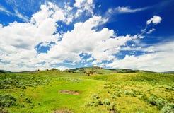 As nuvens no vale Yellowstone de Lamar Fotos de Stock