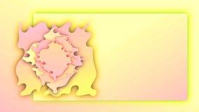 As ondas de papel florescem Rosa e fundo amarelo da bandeira do inclinação do verão ilustração do vetor