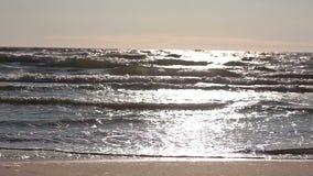 As ondas do mar são iluminadas pelo sol e estão correndo perto da câmera video estoque