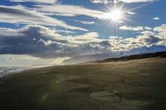 As ondas que batem a praia na praia preta da areia ou o reynisfjara em Islândia imagens de stock royalty free