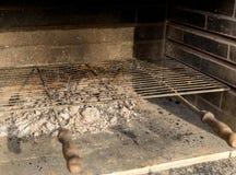 As in open haard na grillpartij stock fotografie