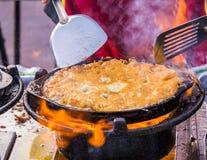 As ostras fritaram no alimento da massa do ovo Fotografia de Stock