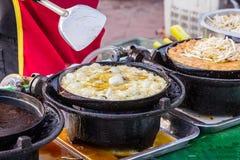As ostras fritaram no alimento da massa do ovo Imagens de Stock
