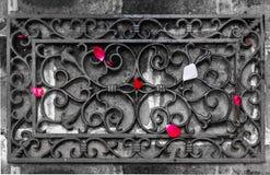 As pétalas das rosas são dispersadas em uma estrutura forjada fotografia de stock royalty free
